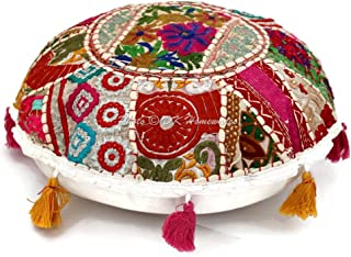 DK Homewares Round Bohemian Floor Pillow Seating White 18 Inch Patchwork Lounger Pouffe Footstool Home Decor Embroidered Vintage Cotton Indian Floor Cushion Cover 45 cm
