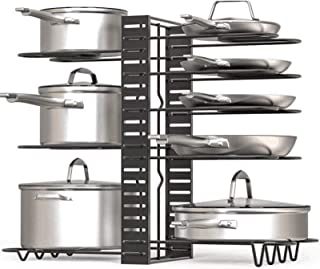 Pan Rack,U HOOME Pot and Pan Organizer for Cabinet, Adjustable 8 Non-Slip Tiers Pot Rack Organizer with 3 DIY Methods, Kit...