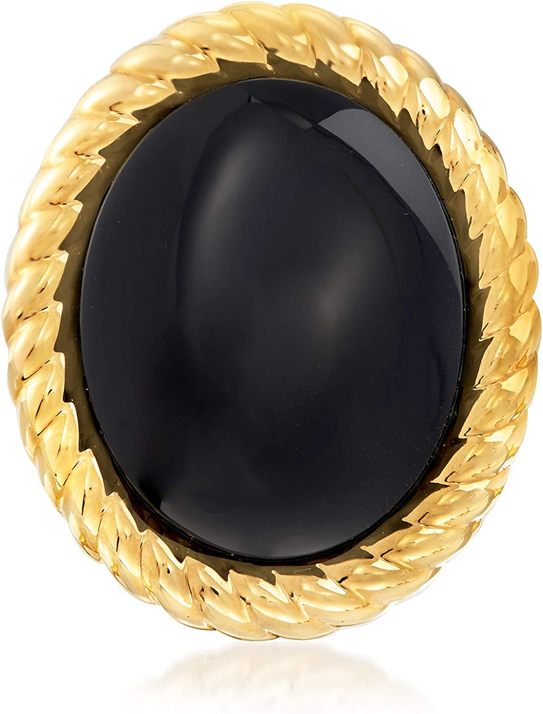 Ross-Simons Italian Andiamo Black Onyx Ring in 14kt Yellow Gold Over Resin