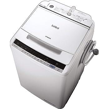 日立 全自動洗濯機 ビートウォッシュ 洗濯容量8kg 本体幅57cm 大流量ナイアガラビート洗浄 洗濯槽自動おそうじ BW-V80C W ホワイト