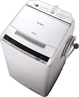日立 全自動洗濯機 ビートウォッシュ 洗濯容量8kg 本体幅57cm 大流量ナイアガラビート洗浄 洗濯槽自動おそうじ BW-V80C W