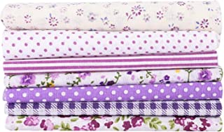 Quilting Patchwork Sewing Cotton Fabric PURPLE CROSSES ON WHITE Wider 150x50c...