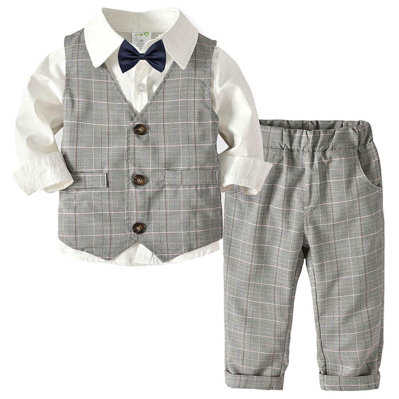 ALLAIBB 子供服 フォーマル スーツ 男の子 ワイシャツ ベスト ロングパンツ 蝶ネクタイ 発表会 結婚式 size 90 (ホワイト)