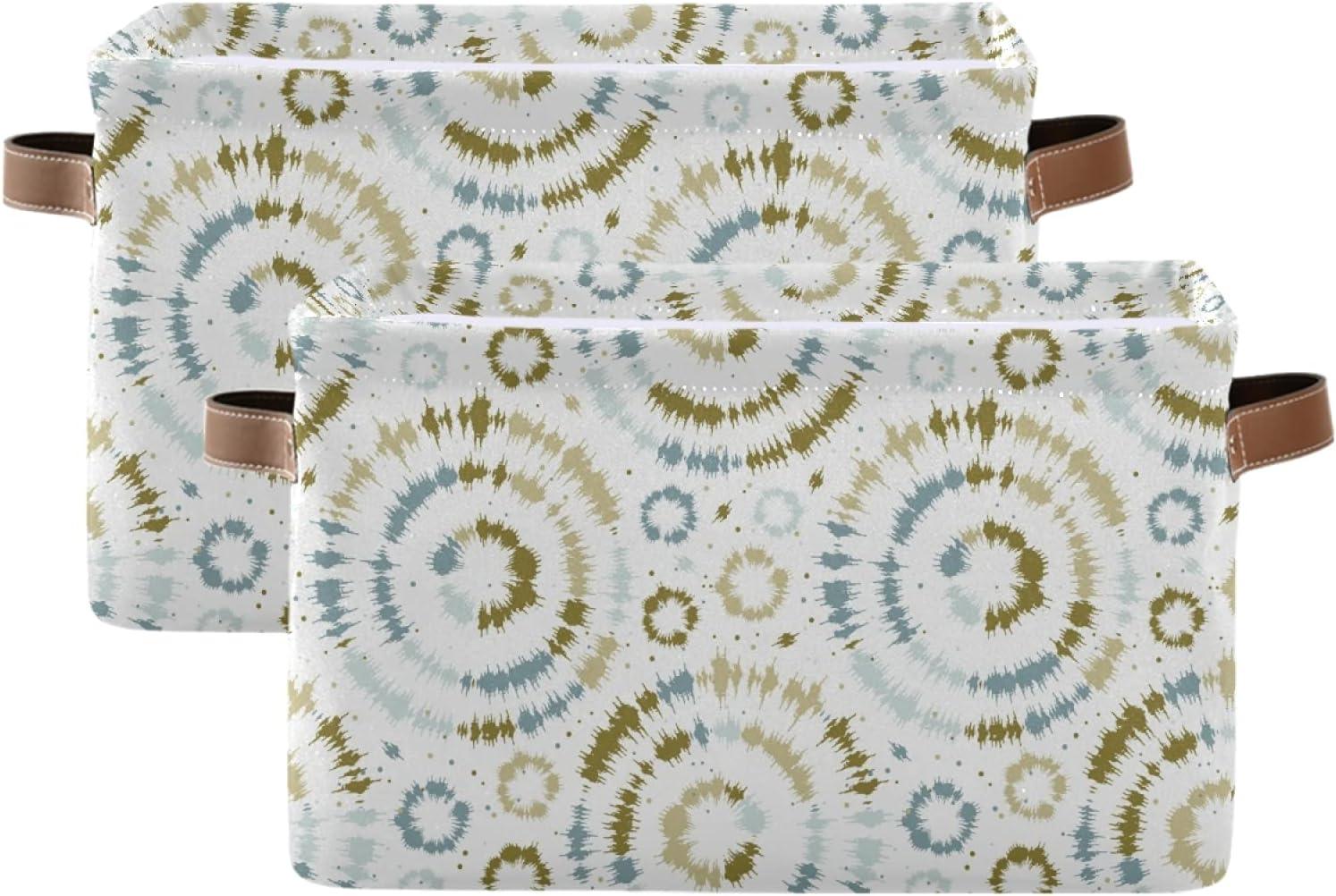 Large Foldable Storage Bin Tie Limited Special Price [Alternative dealer] Sunburst Circle Shibori Fabri Dye