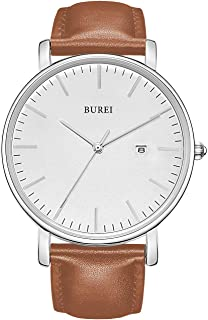 BUREI Men's Fashion Minimalist Wrist Watch Analog Date with Leather Strap