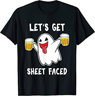 Let's Get Sheet Faced Boos Beer Drinking Boo Ghost Halloween T-Shirt