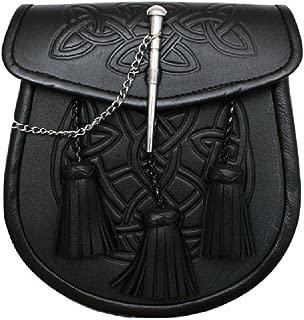 Men's Celtic Pattern 3 Tassels Black Kilt Sporran & Belt