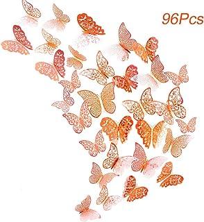 96pz Adhesivos Mariposas 3D Decorativos para Pared, Creatiees Pegatinas de Pared Mariposas Decoraciones, Rxtraíble Mural Pegatinas de Calcomanías Hogar Casa Habitación para Hogar Habitación(oro rosa)