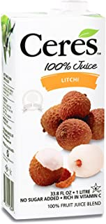 Ceres 100% All Natural Pure Fruit Juice Blend | Gluten Free | Rich in Vitamin C | No Sugar or Preservatives Added, 33.8 FL OZ, Litchi (Pack of 6)