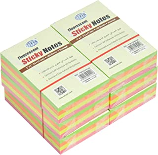 FIS Sticky Note Pads, 4 Assorted Fluorescent Colors, (200 Sheets x 6 Pieces), 3 x 2 Inch Size - FSPO324C200