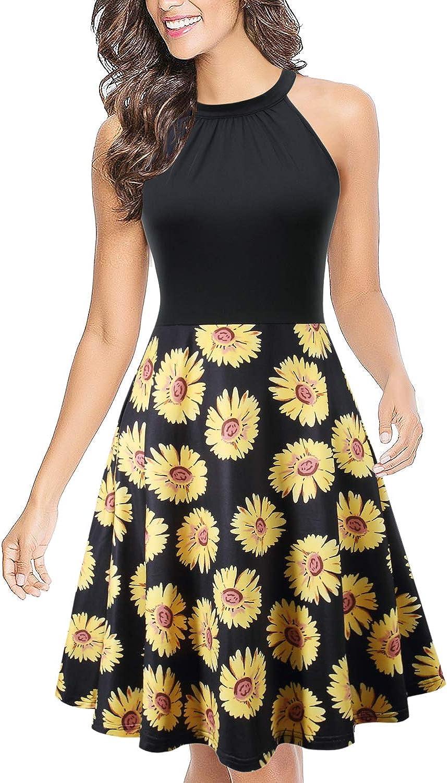 BIKATU Halter Neck Summer Dresses for Women Casual Floral Print Short Dress Beach Sundress.
