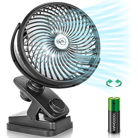 【自動首振り&最大107時間連続使用】 扇風機 小型 卓上 静音 usb扇風機 クリップ 充電式 360度角度調整 風量無段階調節 LEDライト搭載 10000mAhバッテリー内蔵 強風 アロマ対応 直径16cm ブラック