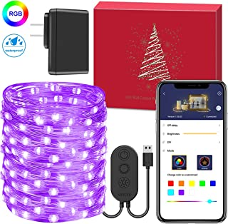 Fairy Lights with App, MINGER App controlled Led String Lights Plug In, 32.8 ft 100 Led Multi Waterproof Copper Wire Starry Fairy Lights, Multi-function Dimmable Decorative lights for Christmas, Patio