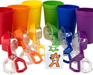 Skoolzy Rainbow Toddler Fine Motor Skills Toys Set Counting, Color Sorting Arts and Crafts for Toddlers and Preschoolers. Cups, Scoop Tongs and Dice. 15pc Montessori Materials Kit