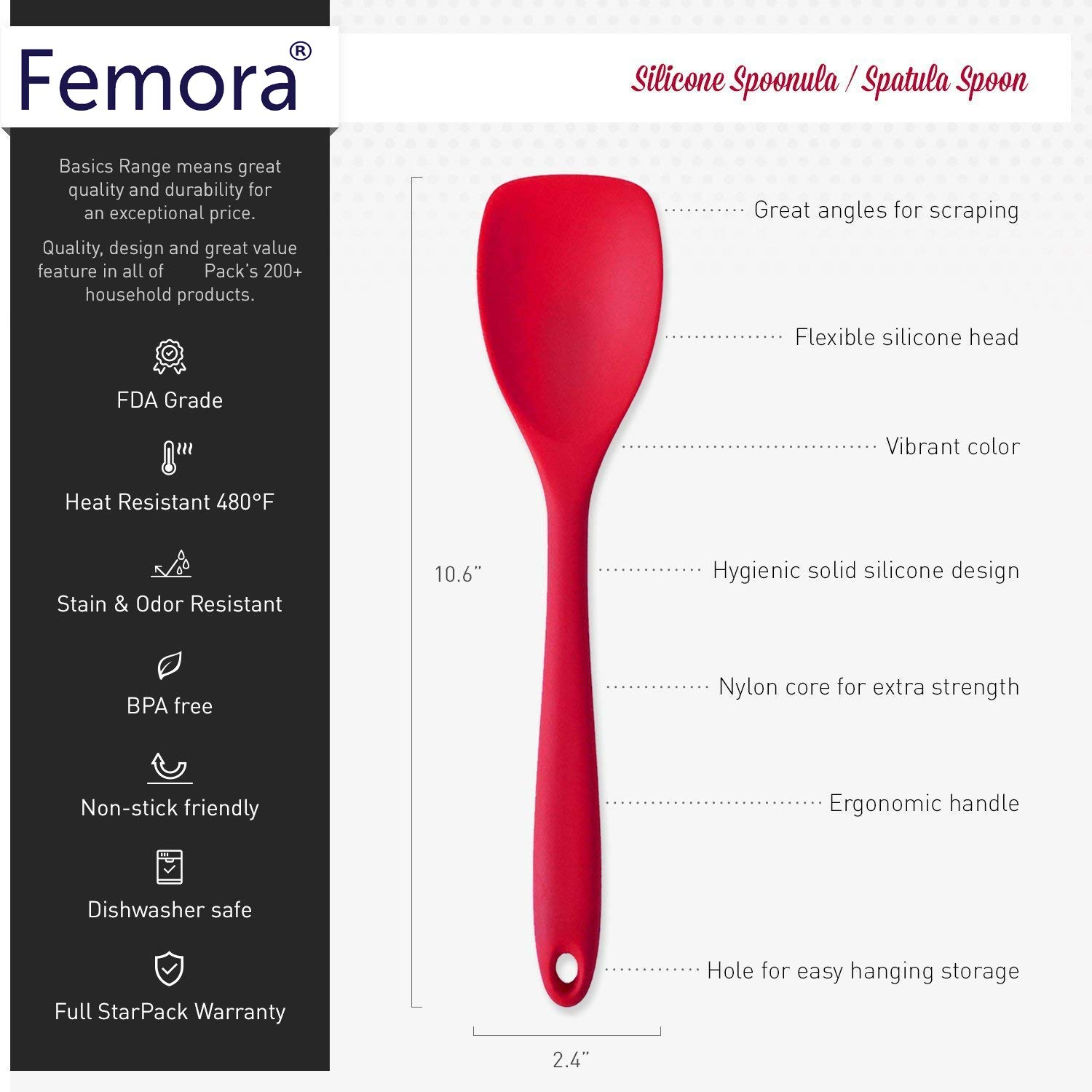 Femora Silicone Premium Spoon with Grip Handle, Red, 1 Year Warranty