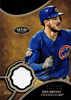 2019 Topps Tier One Relics #T1R-KB Kris Bryant Game Worn Cubs Jersey Baseball Card - Only 375 made!
