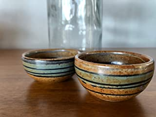 Artisan Mezcal Cups | Handcrafted and Hand painted Clay Copitas | The Proper Traditional Vessel for Mezcal and Tequila, or any other Enjoyable Neat Spirit | Set of 2 (Brown)