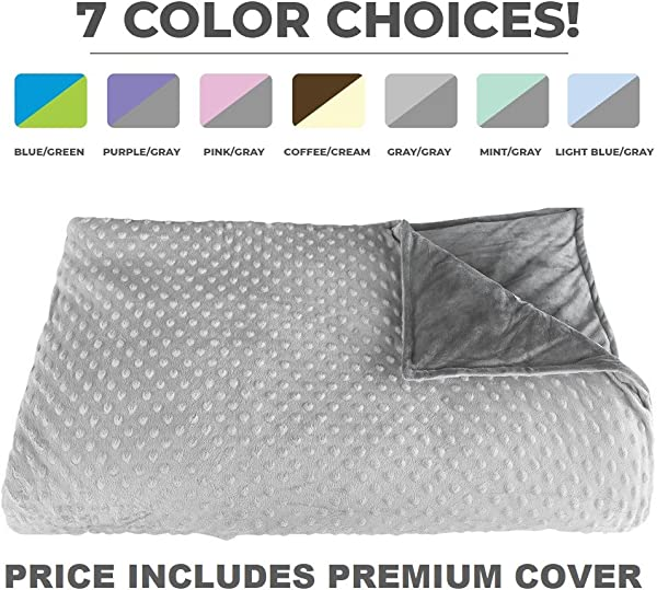 Premium Weighted Blanket Perfect Size 60 X 80 And Weight 15lb For Adults And Children Deluxe CALMFORTER Tm Blanket Price Includes Cover