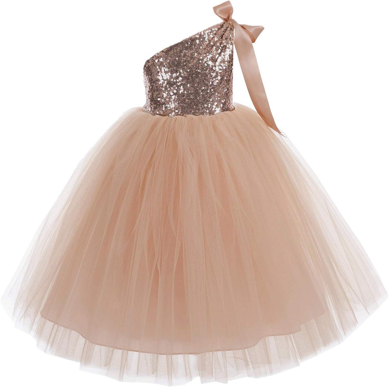 ekidsbridal One-Shoulder Sequin Tutu Flower Girl Dress Corset Dress Wedding Pageant Dresses Ball Gown Tutu Dresses
