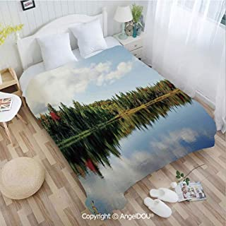 AngelDOU Portable Car Air Conditioner Blanket W59 xL78 Sunny Day During Fall in Northern Canada with Colorful Maple Trees Reflected by a Cal for Home Couch Outdoor Travel.
