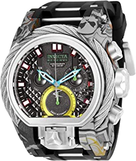 Men's Reserve Stainless Steel Quartz Watch with Silicone Strap, Black, 34 (Model: 26443)