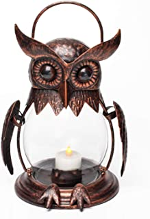 Vintage Owl Hanging Lantern for Outdoor & Indoor Party Décor, Owl Lover, Birthday Gift, Red Bronze (Tealight Included)