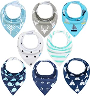 Baby Bibs 8 Pack Soft and Absorbent for Boys & Girls - Baby Bandana Drool Bibs