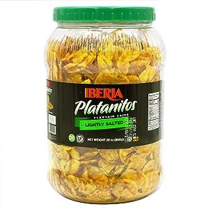 Iberia Plantain Chips Jar Lightly Salted, 28 Oz (1.75 lb), NON GMO, Gluten Free, Kosher