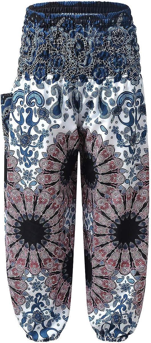 QinCiao Kids Girls Loose Hippie Pants Bohemian Harem Pants Smocked Baggy Boho Trousers Yoga Dance Pilates Bottoms