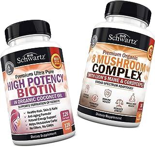 10000mcg Biotin with Organic Coconut Oil + Mushroom Complex with Lions Mane & Cordyceps - Promotes Energy & Overall Vitali...