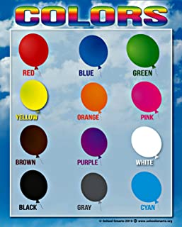 Colors Chart by School Smarts 12 BOLD Colors ●Fully Laminated Durable Material Rolled for Protection and SEALED in a PROTECTIVE poster sleeve. Discounts are in the special offers section of the page.