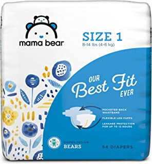 Amazon Brand - Mama Bear Best Fit Diapers Size 1, 54 Count, Bears Print [Packaging May Vary]