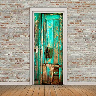Fymural Door Wall Mural Wallpaper Stickers New 3D Old Wooden Vinyl Removable Decals for Home Room Decoration 30.3x78.7,Green