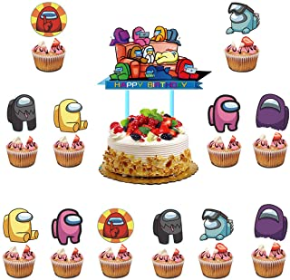 25 Pcs A-m-o-n-g Uss Cake Toppers, Birthday Party Decorations, A-m-o-n-g Uss Themed Party Supplies