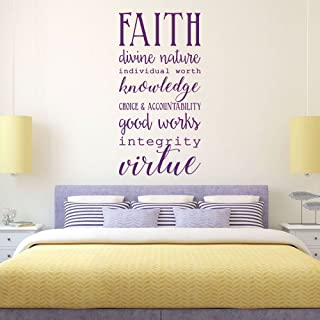 Young Women LDS - Faith, Divine Nature, Individual Worth, Knowledge, Choice & Accountability, Good Works, Integrity, Virtue - Religious Decals for Home, Girls Room Wall Art