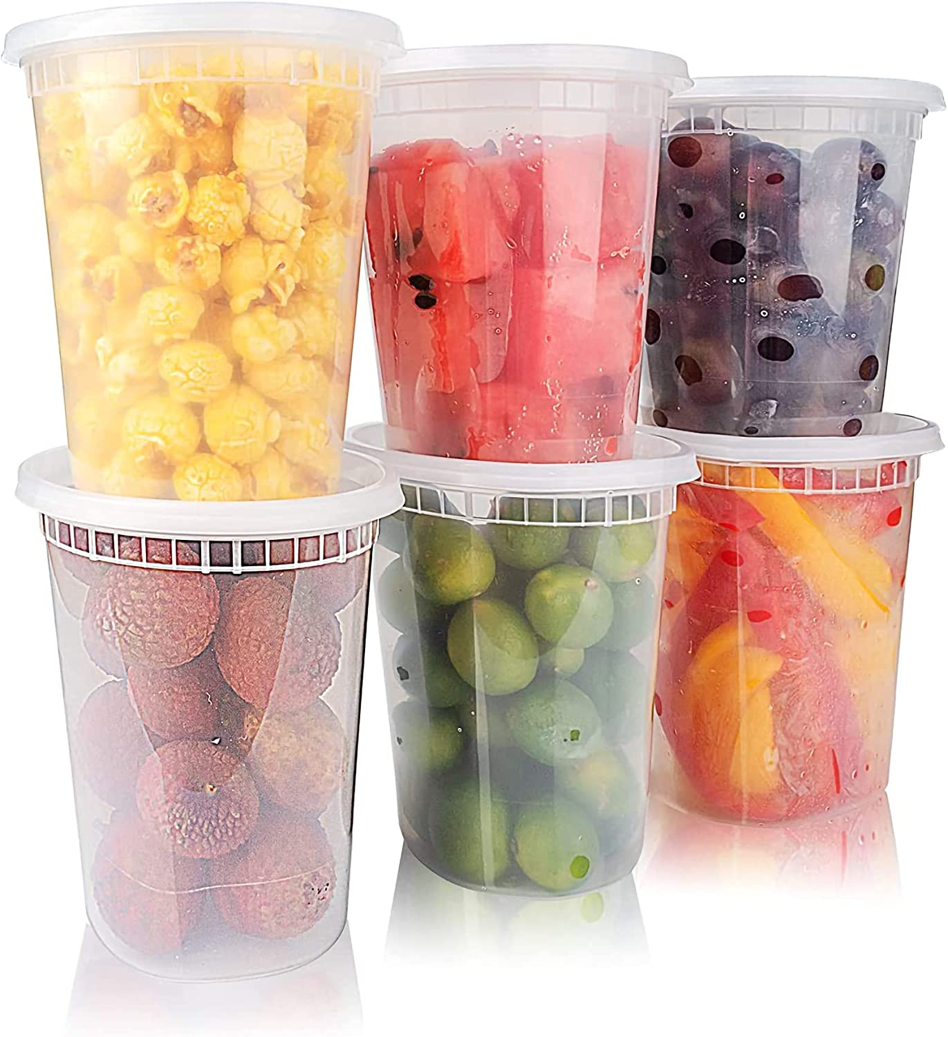 Food Storage Container 48 Set Deli Containers With Lids Reusable Plastic Small Soup Bowls Salad Cups Leakproof Safe BPA Free For freezer Dishwasher Microwave(32 oz)