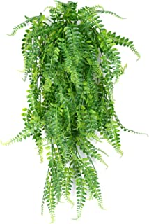 SzJias 2 Pcs Artificial Plants Greenery Ferns Vines Fake Ivy Hanging Flowers Vine UV Resistant Plastic Plant for Wall Indoor Outdoor Hanging Baskets Wedding Garland Decor