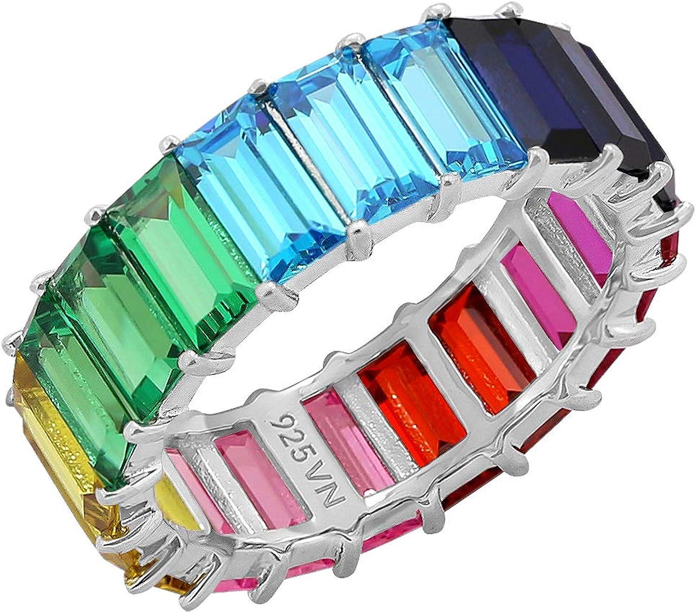 KIERA COUTURE Trust Multicolored Japan's largest assortment Rainbow Princess Baguette Z Cut Cubic