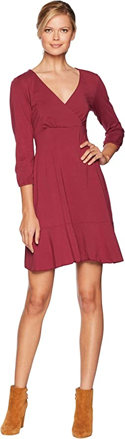 Cotton Modal Spandex Jersey Surplice Front Dress with Flounce Hem