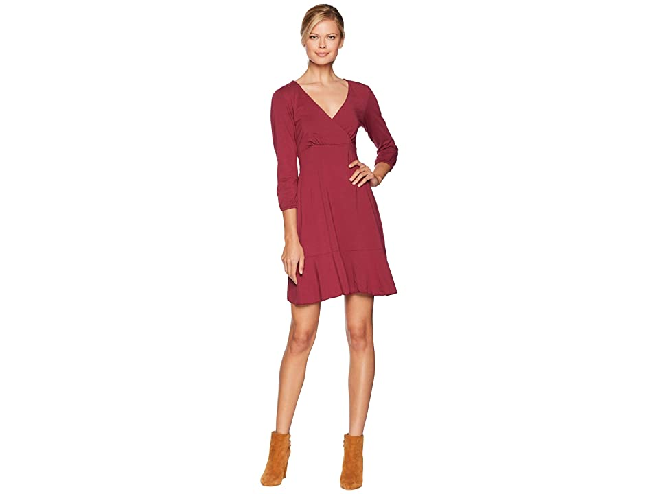 Mod-o-doc Cotton Modal Spandex Jersey Surplice Front Dress with Flounce Hem (Cranberry) Women