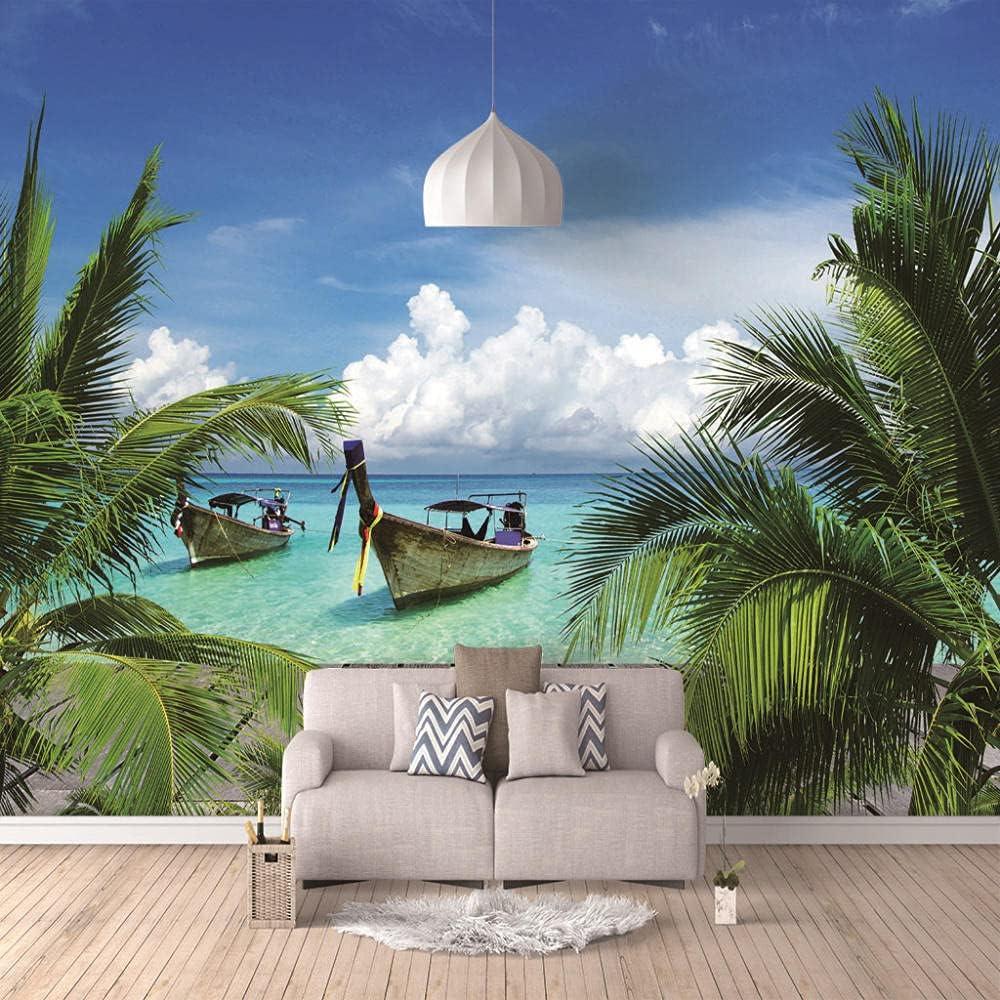 Wall Mural Coconut Boat inch 59x39.5 Wallpaper Gorgeous 4 years warranty Sticke