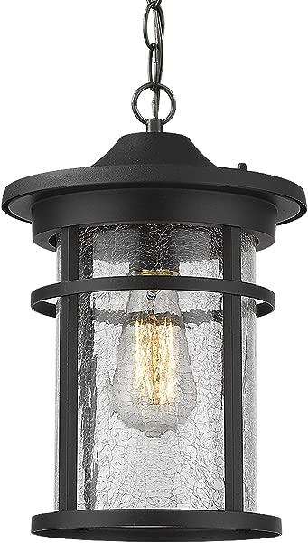 Emliviar Outdoor Hanging Lantern Light Fixture 1 Light Exterior Pendant Porch Light In Black Finish With Crackle Glass A208511D1