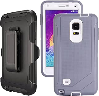 Galaxy Note 4 Case Heavy Duty,Harsel Defender Bumper Shockproof Dustproof Dropproof 3 Layer Rugged Protective Shell Case w/Built-in Screen Protector & Belt-Clip for Samsung Galaxy Note 4 (Grey White)