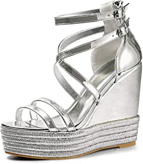 Allegra K Women's Espadrille Crisscross Strappy Platform Wedges Sandals