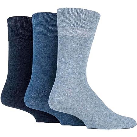 3x Pairs of Mens Plain Gentle Grip Non-Elastic Socks/UK 6-11 Eur 39-45