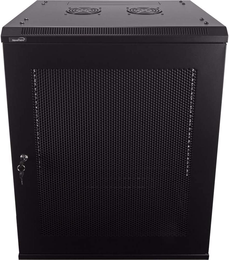 NavePoint 15U Deluxe IT Wallmount Cabinet Enclosure 19-Inch Server Network Rack with Locking Perforated Door 16-Inches Deep Black