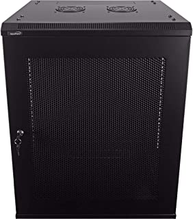 NavePoint 15U Deluxe IT Wallmount Cabinet Enclosure 19-Inch Server Network Rack with Locking Perforated Door 16-Inches Dee...