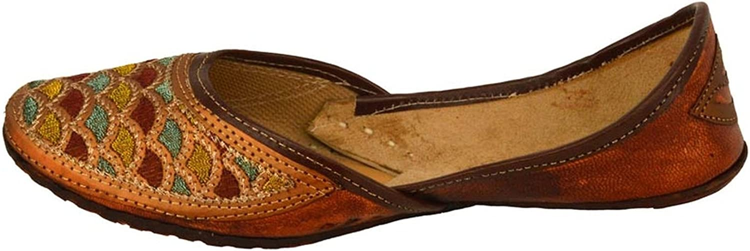 Handcrafted Women's Artisan Indian Slippers Womens Flat shoes Brown