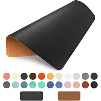 Espresso Brown-2 PCS//Pack Non-Slip Suede Backing by Pleasant Breeze Thick Cowhide Leather Mouse Pad with Waterproof Coating