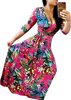 Womens Floral Printed Maxi Floor Dresses with Belt Long Sleeves
